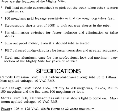 Mighty Mite specifications