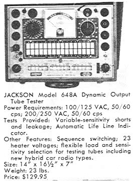 Jackson 648A listing in the 1958 Test Equipment Annual magazine by Howard Sams